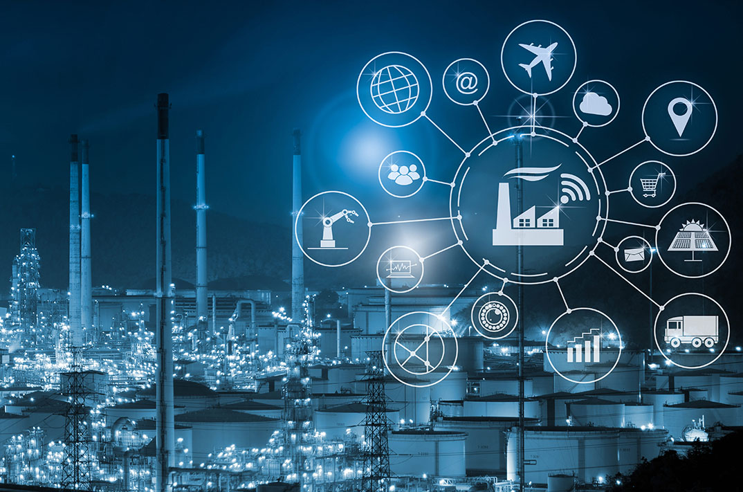 Industrial Image with Overlay on Business Process and icons